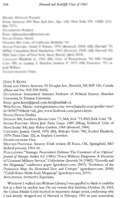 Gene Keyes, p.1,               Harvard Class of 1963 50th Anniversary Report