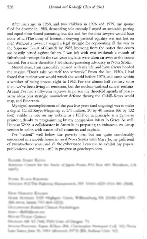 Gene Keyes, p. 3,               Harvard Class of 1963, 50th Anniversary Report